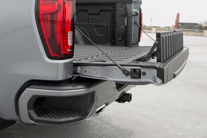 A section of the GMC Sierra MultiPro tailgate pops up to allow for a more secure extended tailgate seen here at the GM Vehicle Engineering Center in Warren., Mich., Thursday, May 16, 2019.