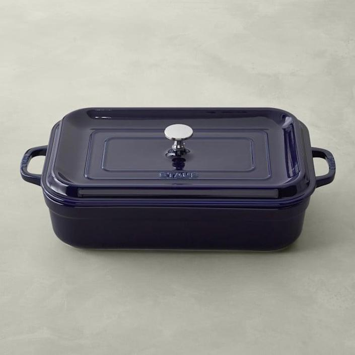 <p>The <span>Staub Stoneware Rectangular Covered Baker</span> ($100, originally $185) will inspire you to bake your heart out!</p>