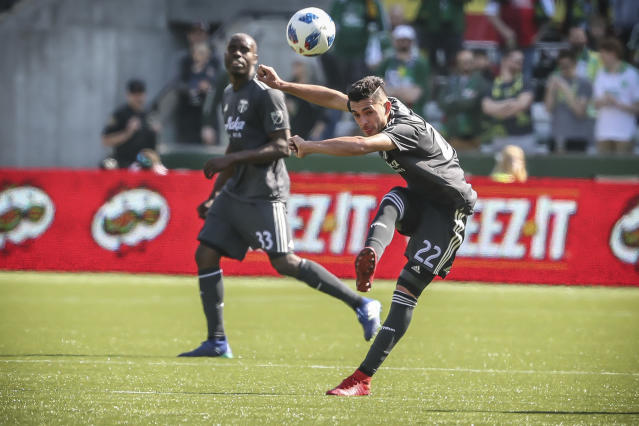 Portland Timbers midfielder Cristhian Paredes boots the ball during the first half of an MLS soccer match against New York City FC in Portland, Ore., Sunday, April 22, 2018. (Serena Morones/The Oregonian via AP)