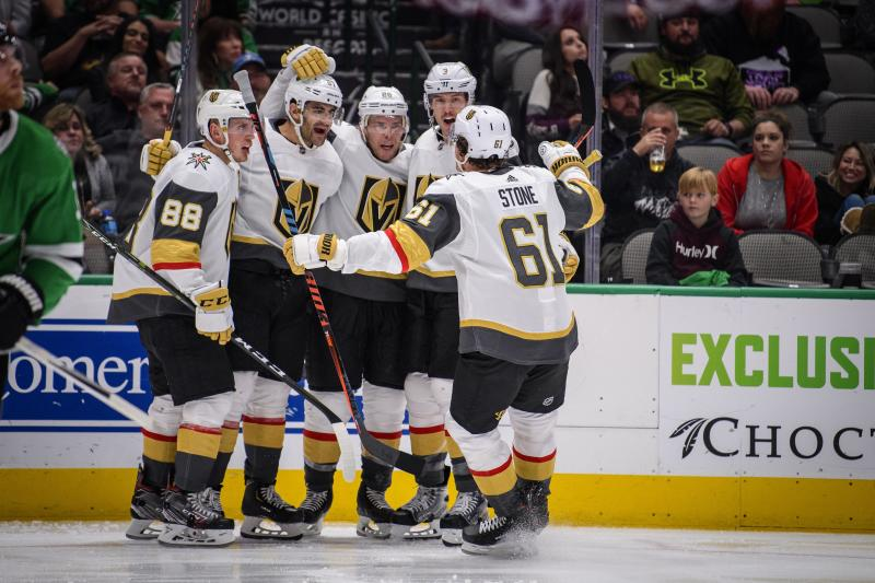 Vegas Golden Knights defenseman Nate Schmidt (88) and left wing Max Pacioretty (67) and center Paul Stastny (26) and defenseman Brayden McNabb (3) and right wing Mark Stone (61)