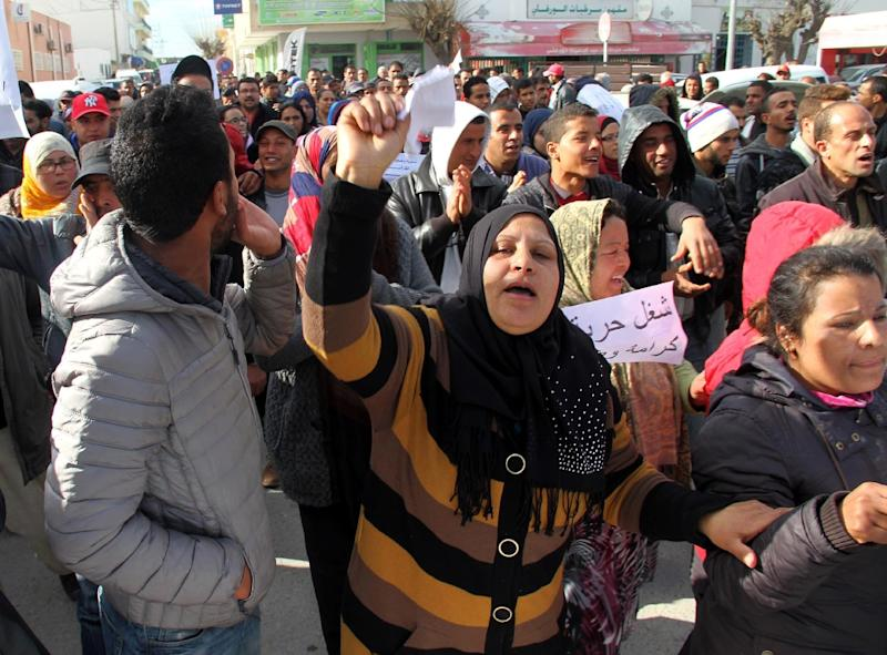 Fresh demonstrations and clashes erupted in January in Kasserine and other towns in central Tunisia after an unemployed man died while protesting the removal of his name from a list of hires for public sector jobs (AFP Photo/Fawzi Dridi)