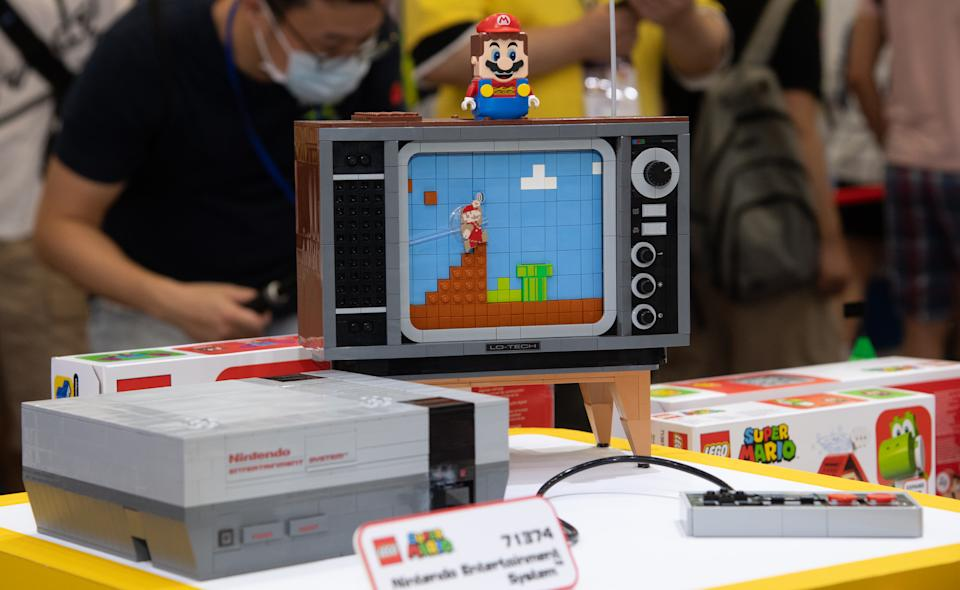A LEGO Super Mario Nintendo Entertainment System toy set on display at the Taipei International ACG Exhibition in 2020. (Getty)