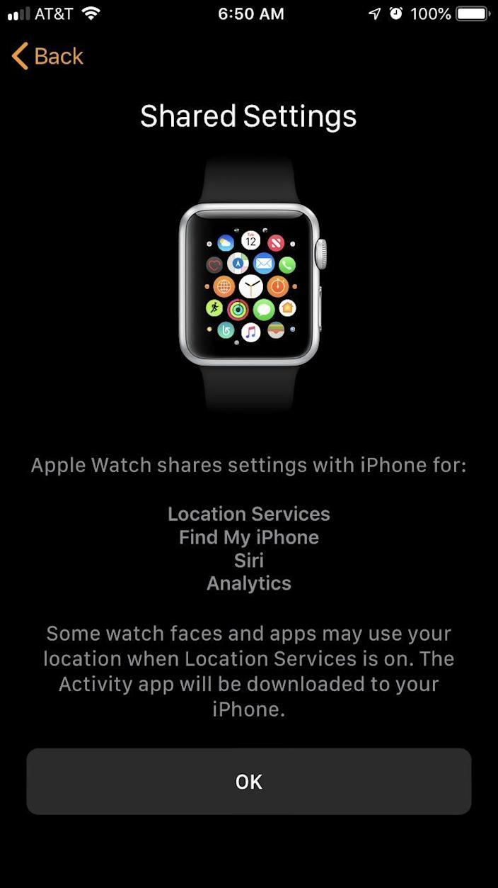 Apple Watch shared settings