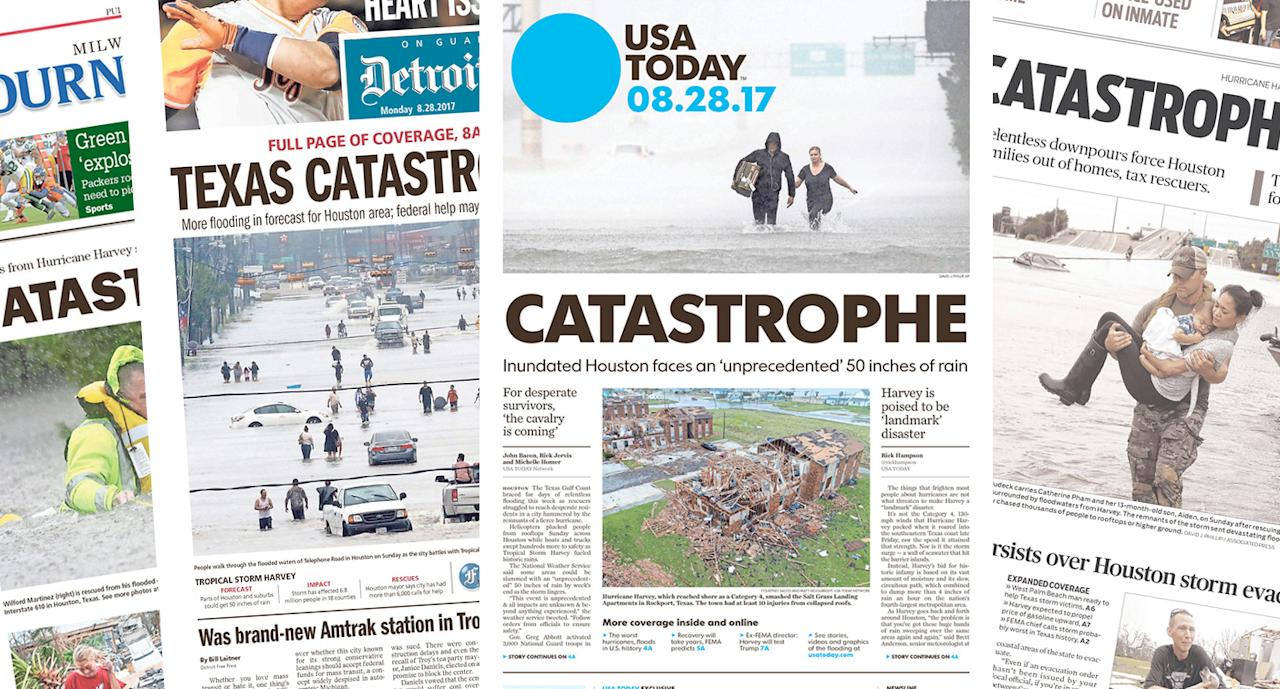 "<p>As Hurricane Harvey continues to batter the South Texas coast, newspapers reacted to the disaster with headlines and photos to fit the storm, which has already left at least two dead. The word ""catastrophe"" appeared frequently. </p>"
