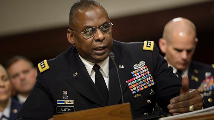 Army General Lloyd Austin III, commander of the US Central Command, speaks during a hearing of the Senate Armed Services Committee March 8, 2016 in Washington, DC. (Brendan Smialowski /AFP via Getty Images)