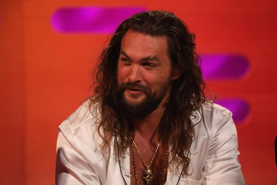 Jason Momoa during the filming for the Graham Norton Show at BBC Studioworks 6 Television Centre, Wood Lane, London, to be aired on BBC One on Friday evening. (Photo by Isabel Infantes/PA Images via Getty Images)