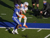 Air Force cornerback Elisha Palm, left, blocks a pass intended for Boise State wide receiver Khalil Shakir during the first half of an NCAA college football game Saturday Oct. 31, 2020, at Air Force Academy, Colo. (AP Photo/David Zalubowski)