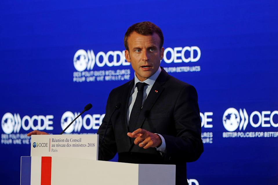 "French President Emmanuel Macron delivers a speech at the OECD ministerial council meeting on ""Refounding Multilateralism"" in Paris, France, May 30, 2018.  REUTERS/Philippe Wojazer/Pool"