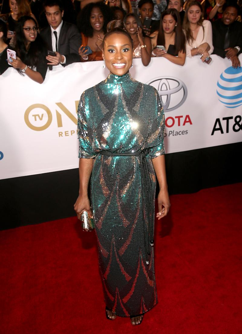 WHO: Issa Rae<br />WHAT: Marc Jacobs<br />WHERE: NAACP Image Awards, Los Angeles<br />WHEN: January 15, 2018