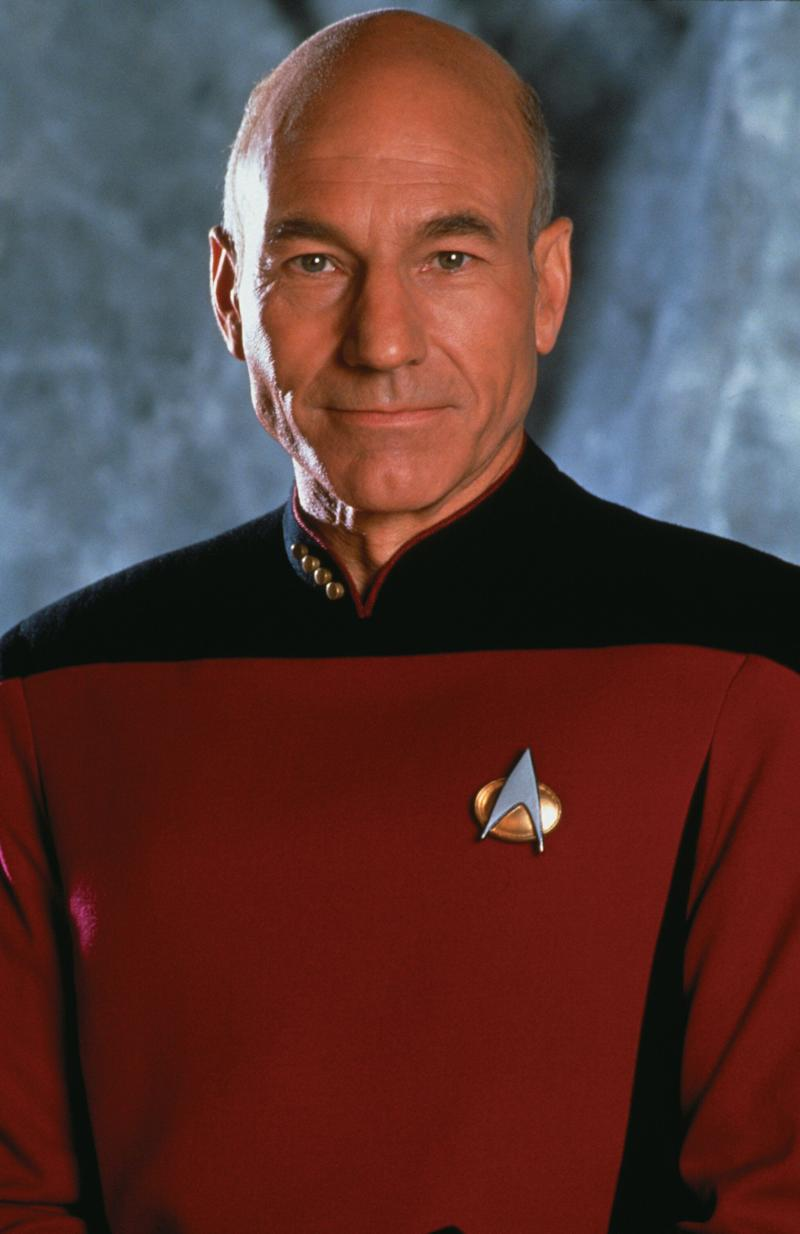 Promotional portrait of British actor Patrick Stewart (as Captain Jean-Luc Picard) in 'Star Trek: The Next Generation,' California, 1987. (Photo by CBS Photo Archive/Getty Images)