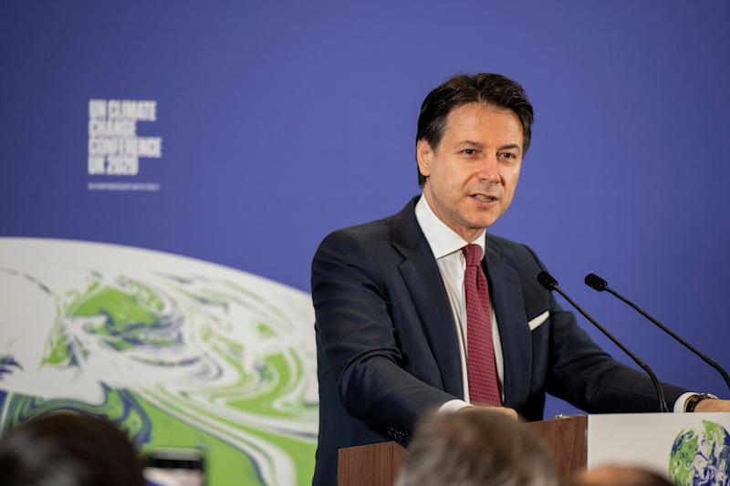 Italy's Prime Minister Giuseppe Conte speaks during the launch of the upcoming UK-hosted COP26 UN Climate Summit in London, Tuesday Feb. 4, 2020, that will take place in autumn 2020 in Glasgow, Scotland. (Chris J Ratcliffe/Pool via AP) (Photo: ASSOCIATED PRESS)