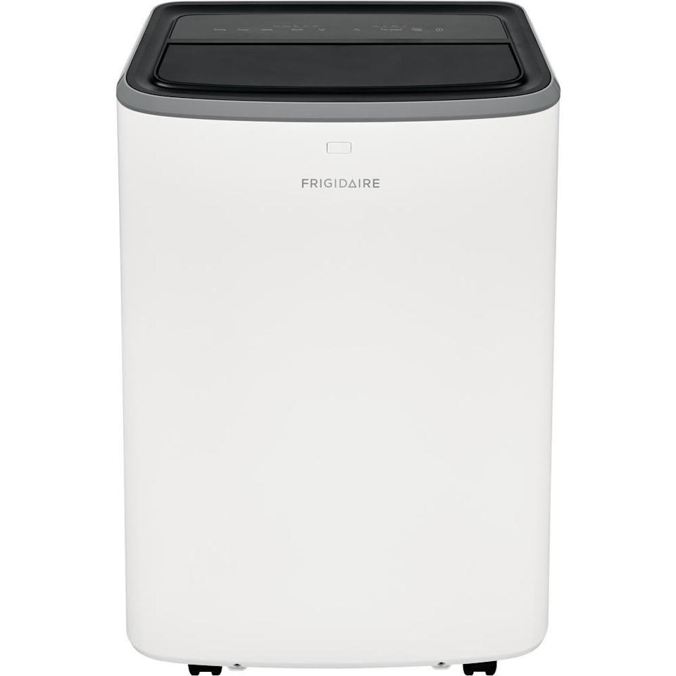 """<p><strong>Frigidaire</strong></p><p>amazon.com</p><p><strong>$539.00</strong></p><p><a href=""""https://www.amazon.com/Frigidaire-FHPH132AB1-Portable-Conditioner-White/dp/B08BHJBDZY?tag=syn-yahoo-20&ascsubtag=%5Bartid%7C10055.g.21286604%5Bsrc%7Cyahoo-us"""" rel=""""nofollow noopener"""" target=""""_blank"""" data-ylk=""""slk:Shop Now"""" class=""""link rapid-noclick-resp"""">Shop Now</a></p><p>This 13,000 BTU unit is <strong>quieter than others</strong>, <strong>with the manufacturer claiming it can stay as low as 52 dBA</strong> — about as loud as a quiet conversation. It has a built-in dehumidifier that removes 67 pints a day when used in """"dry mode."""" It has a clever auto restart that will resume operation in its previous setting when the unit is turned back on. <br></p>"""