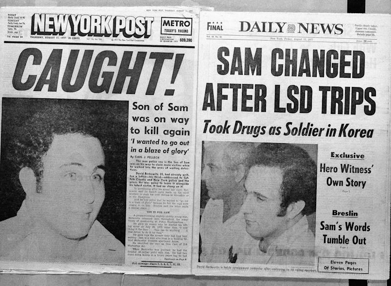 """FILE - This August 11, 1977 file photo, shows the front page headlines of the New York Post and the Daily News the day after police arrested David Berkowitz, the tabloid-loving, police-taunting """"Son of Sam"""" killer, in New York. Thursday, Aug. 10, 2017 is the 40th anniversary of Berkowitz's capture. (AP Photo/File)"""