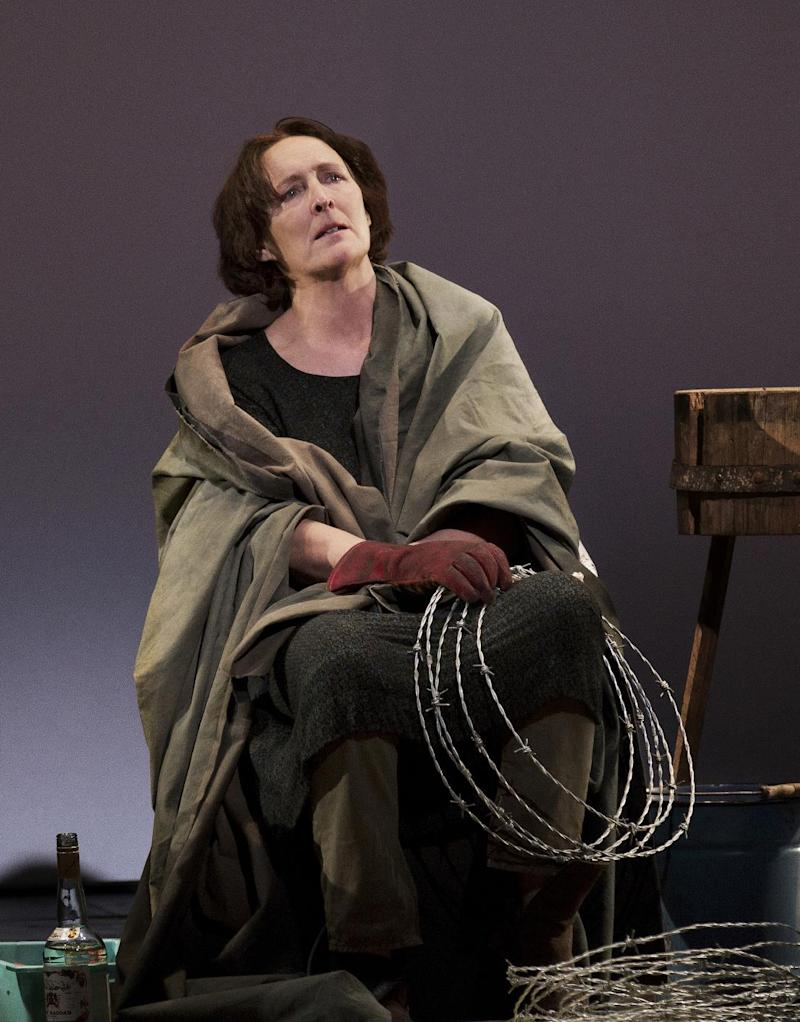 """This undated publicity photo provided by Philip Rinaldi Publicity shows Fiona Shaw as Mary in a scene from play, """"The Testament of Mary,"""" by Colm Toibin, which opens Monday, April 22, 2013. The one-woman show directed Deborah Warner is currently playing a limited engagement on Broadway at the Walter Kerr Theatre in New York. (AP Photo/Philip Rinaldi Publicity, Paul Kolnik)"""