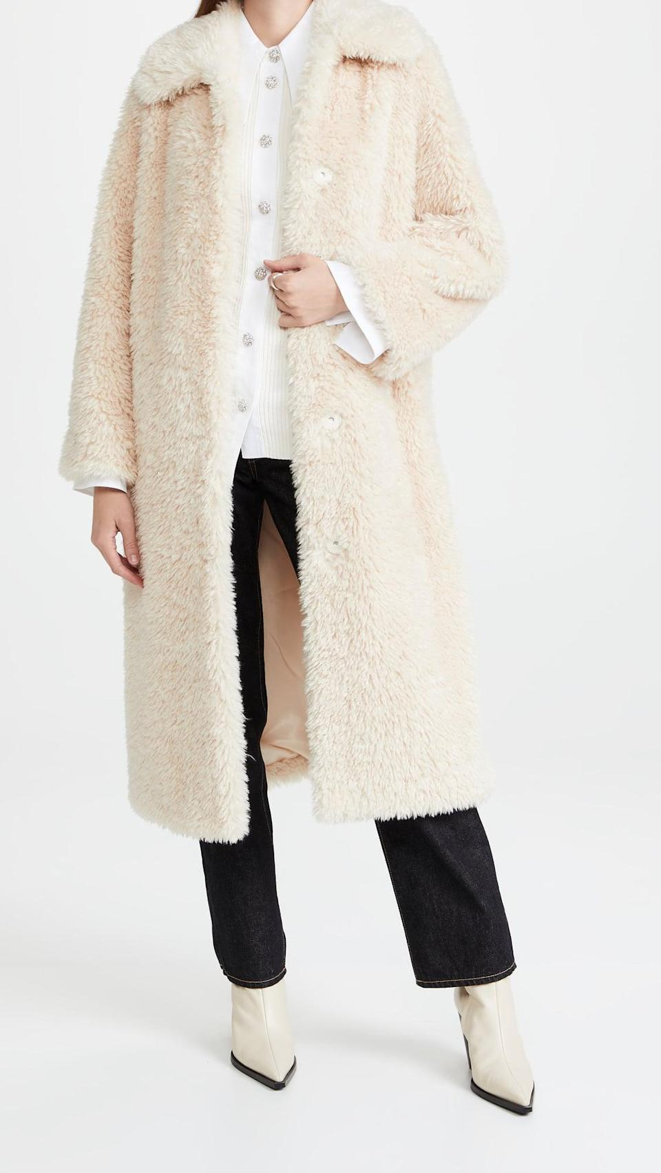 <p>Don't you want to just curl up in this <span>Stand Studio Nino Coat</span> ($650)? It's so soft and cozy.</p>