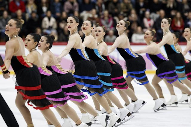 ISU World Synchronized Skating Championships 2019 - Free Skating - Helsinki, Finland - April 13, 2019. Team Haydenettes from U.S. performs. Lehtikuva/Roni Rekomaa via REUTERS ATTENTION EDITORS - THIS IMAGE WAS PROVIDED BY A THIRD PARTY. NO THIRD PARTY SALES. NOT FOR USE BY REUTERS THIRD PARTY DISTRIBUTORS. FINLAND OUT. NO COMMERCIAL OR EDITORIAL SALES IN FINLAND.