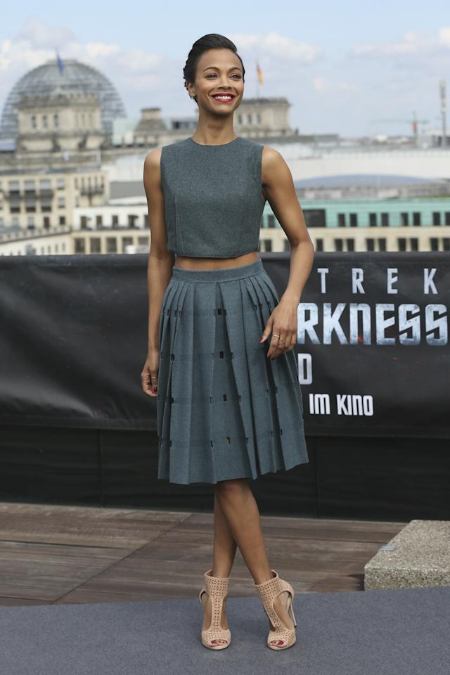 BERLIN, GERMANY - APRIL 28:  Actress Zoe Saldana attends the 'Star Trek Into Darkness' Photocall at China Club on April 28, 2013 in Berlin, Germany.  (Photo by Sean Gallup/Getty Images for Paramount Pictures)