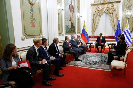 Venezuela's President Nicolas Maduro attends a meeting with representatives of the International Contact Group at the Miraflores Palace in Caracas