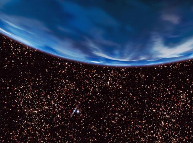 A rich starry sky fills the view from an ancient gas-giant planet in the core of the globular star cluster M4, as imagined in this artist's concept. The 13-billion-year-old planet orbits a helium white-dwarf star and the millisecond pulsar B1620-26, seen at lower left. The globular cluster is deficient in heavier elements for making planets, so the existence of such a world implies that planet formation may have been quite efficient in the early universe. REUTERS/NASA