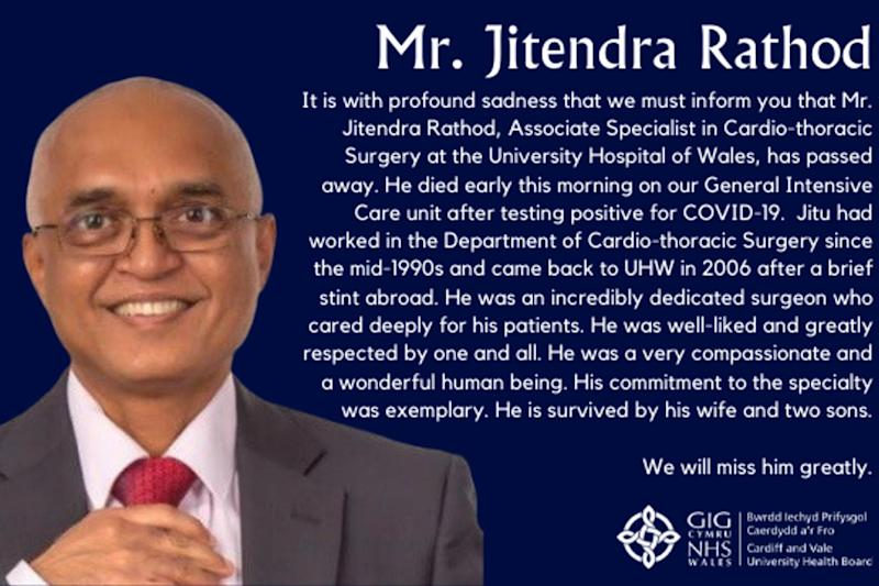 Jitendra Rathod, associate specialist in cardio-thoracic surgery at University Hospital of Wales died from Covid-19 (PA)