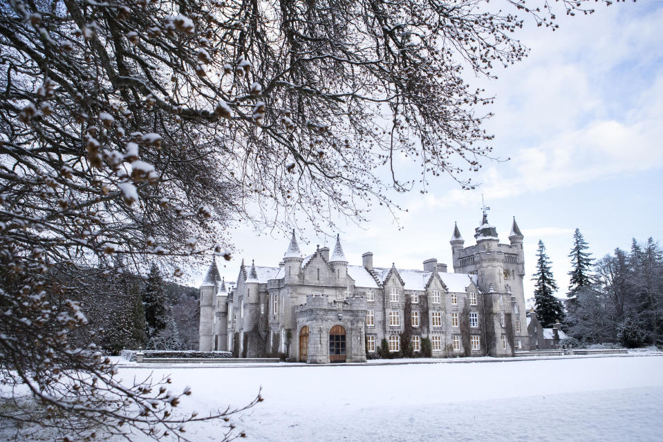 Balmoral Castle, Royal Deeside, in the snow. The Met Office has issued a yellow weather warning for ice and snow across Scotland. (Photo by Jane Barlow/PA Images via Getty Images)