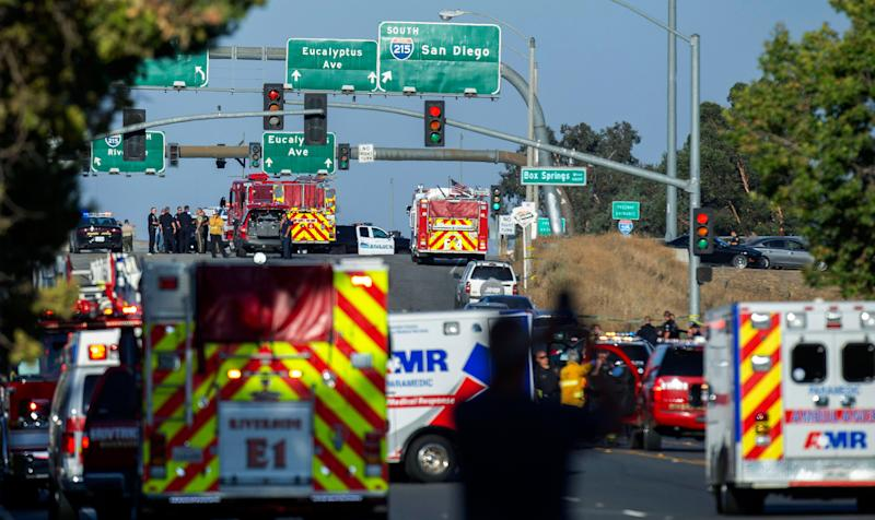 Police search for motive in 'long and horrific gun battle' near California freeway