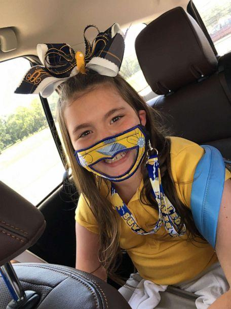 PHOTO: Baleigh Berry, 9, wears a mask one of her teachers, Leslie Bailey, made for her and her classmates. The 9-year-old was born deaf and has bilateral cochlear implants to partially restore her hearing, mom Shena Berry told 'GMA.' (Shena Berry )