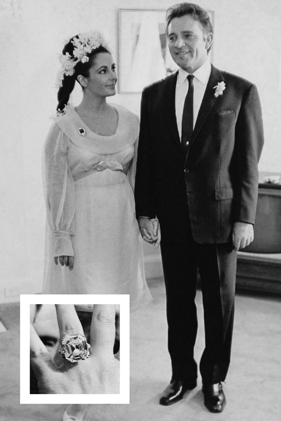 """<p>Taylor and Richard Burton <a href=""""https://www.townandcountrymag.com/leisure/arts-and-culture/g2086/elizabeth-taylor-and-richard-burton-love-story/"""" rel=""""nofollow noopener"""" target=""""_blank"""" data-ylk=""""slk:started their decades-long love affair"""" class=""""link rapid-noclick-resp"""">started their decades-long love affair</a> in 1962. Burton lavished Taylor with incredible pieces of jewelry during their relationship, including the Elizabeth Taylor Diamond, which was formerly known as the Krupp diamond. Burton purchased the 33-carat Asscher-cut potentially flawless diamond ring for Taylor in 1968. While not technically an engagement ring, Taylor wore it nearly every day, and it was sold <a href=""""http://www.christies.com/lotfinder/Jewelry/the-elizabeth-taylor-diamonda-diamond-ring-5507955-details.aspx"""" rel=""""nofollow noopener"""" target=""""_blank"""" data-ylk=""""slk:at a Christie's auction"""" class=""""link rapid-noclick-resp"""">at a Christie's auction</a> in December 2011 for $8.8 million, <a href=""""https://www.forbes.com/sites/hannahelliott/2011/12/14/elizabeth-taylor-diamonds-fetch-record-prices-at-auction/#699496a74e48"""" rel=""""nofollow noopener"""" target=""""_blank"""" data-ylk=""""slk:Forbes reports."""" class=""""link rapid-noclick-resp""""><em>Forbes </em>reports.</a></p>"""