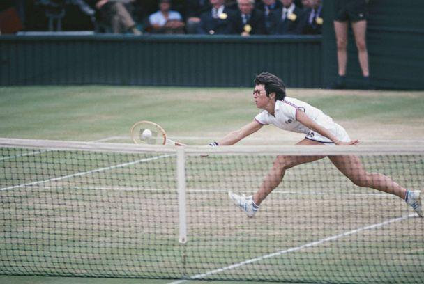 PHOTO: Billy Jean King stretches to hit the ball during the Virginia Slims Championship series circa 1972. King founded the series in 1971. (Focus on Sport via Getty Images)