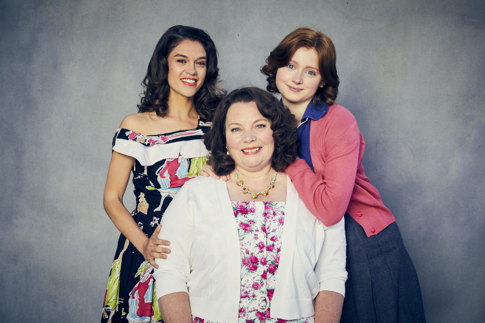 This image and the information contained herein is strictly embargoed until 00.01 Thursday 30th September 2021From Objective Fiction / Genial ProductionsThe Larkins on ITV and ITV HubPictured: Mariette Larkin [Sabrina Bartlett], Ma Larkin [Joanna Scanlan], Primrose Larkin [Lydia Page].This photograph is (C) ITV Plc / Objective Fiction / Genial Productions and can only be reproduced for editorial purposes directly in connection with the programme or event mentioned above, or ITV plc. Once made available by ITV plc Picture Desk, this photograph can be reproduced once only up until the transmission [TX] date and no reproduction fee will be charged. Any subsequent usage may incur a fee. This photograph must not be manipulated [excluding basic cropping] in a manner which alters the visual appearance of the person photographed deemed detrimental or inappropriate by ITV plc Picture Desk.  This photograph must not be syndicated to any other company, publication or website, or permanently archived, without the express written permission of ITV Picture Desk. Full Terms and conditions are available on the website www.itv.com/presscentre/itvpictures/termsFor further information please contact:james.hilder@itv.com / 0207 157 3052
