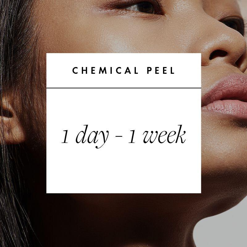 """<p><strong>What It Is: </strong>a chemical solution applied to the skin that treats sun spots, uneven texture, fine lines, and acne. There are varying levels of chemical peels: Light, superficial ones use glycolic, lactic, or alpha hydroxy acids, while the deepest use tricholoracetic acid (TCA) or phenol and often require intensive aftercare practices.</p><p><strong>Book Your Date:</strong> It depends on the strength of your peel. """"Light peels have immediate redness with minimal downtime and you can expect to look your best within 24 hours, but stronger peels can have up to a week of heavy peeling and redness,"""" says Garritano, who notes that days two and three are usually when the dry, flakiness really starts to show. If you do go out, make sure your skin is heavily moisturized (Garritano loves <a href=""""https://www.glytone-usa.com/soothing-lipid-recovery-cream"""" rel=""""nofollow noopener"""" target=""""_blank"""" data-ylk=""""slk:Glytone Soothing Lipid Recovery Cream"""" class=""""link rapid-noclick-resp"""">Glytone Soothing Lipid Recovery Cream</a>) and you're using an SPF of 30 or higher.</p>"""