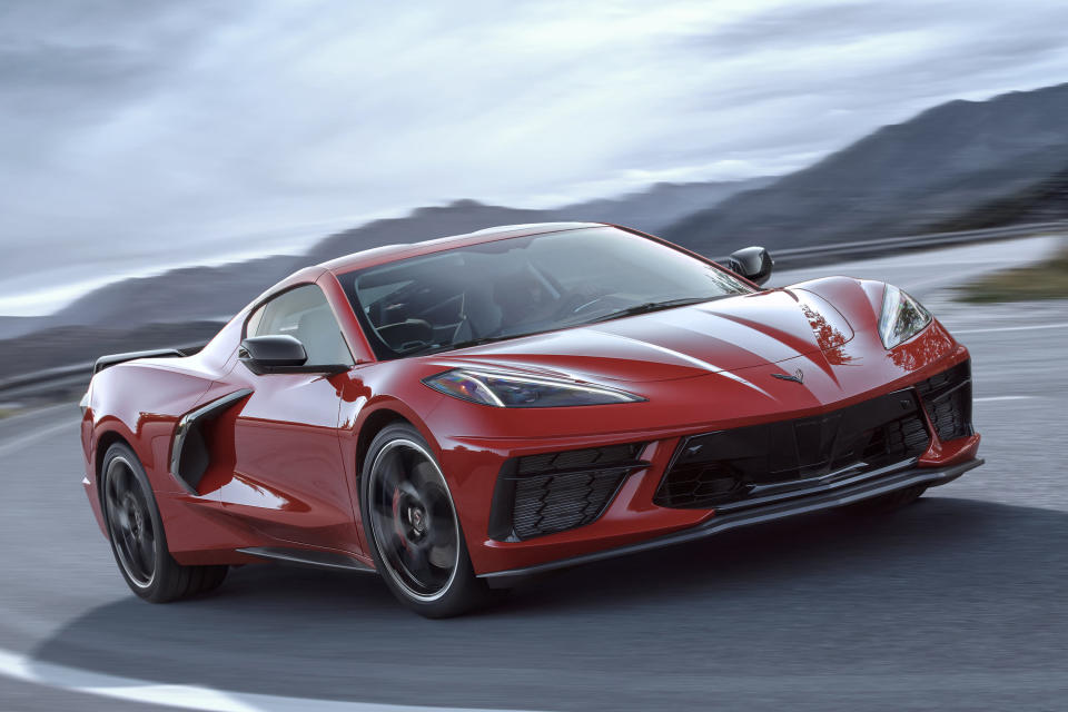 This undated photo provided by General Motors shows the 2020 Chevrolet Corvette Stingray, the new mid-engine version of the Corvette. (General Motors via AP)