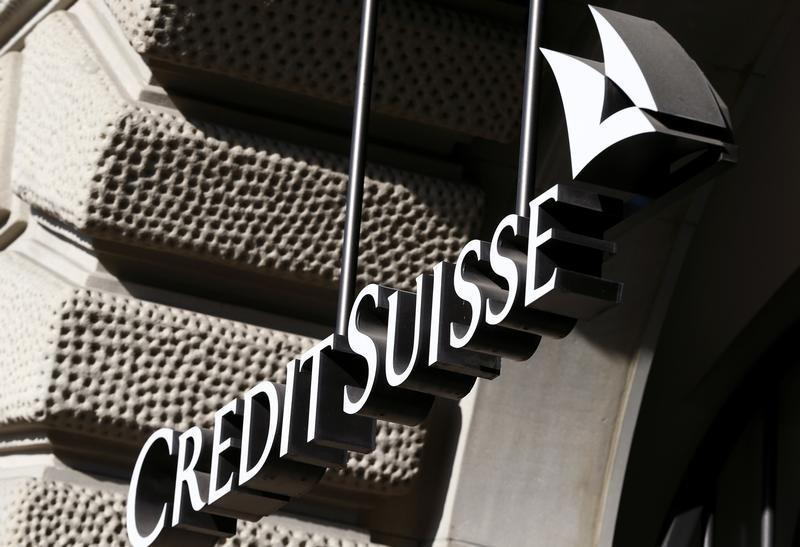 The company's logo is seen at the headquarters of Swiss bank Credit Suisse at the Paradeplatz square in Zurich