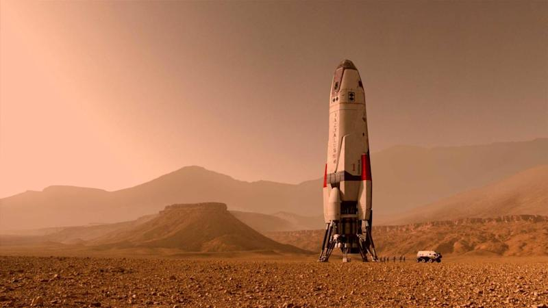 The Martian crew's Deadalus spacecraft standing tall on Martian rock. Image courtesy: National Geographic