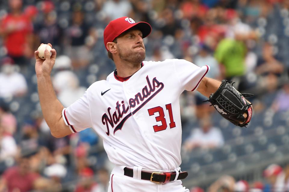 WASHINGTON, DC - JULY 18: Max Scherzer #31 of the Washington Nationals pitches during a baseball game against the San Diego Padres at Nationals Park on July 18, 2021 in Washington, DC. (Photo by Mitchell Layton/Getty Images)