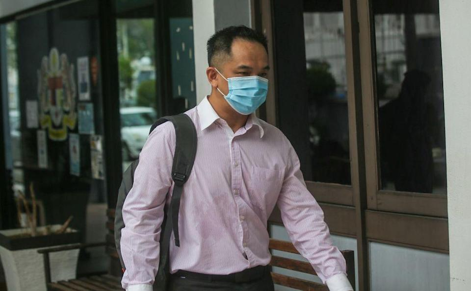 Rantau Urusan (M) Sdn Bhd director Lee Wei Jin, 38, arrives at the Ipoh Sessions Court on July 29, 2021. — Picture by Farhan Najib
