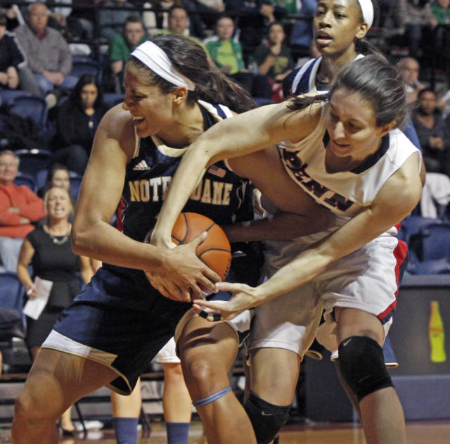 Notre Dame's Taya Reimer , left, and Penn's Courtney Wilson fight for a rebound in the first half of an NCAA college basketball game Saturday Nov. 23, 2013, in Philadelphia. (AP Photo/H. Rumph Jr)