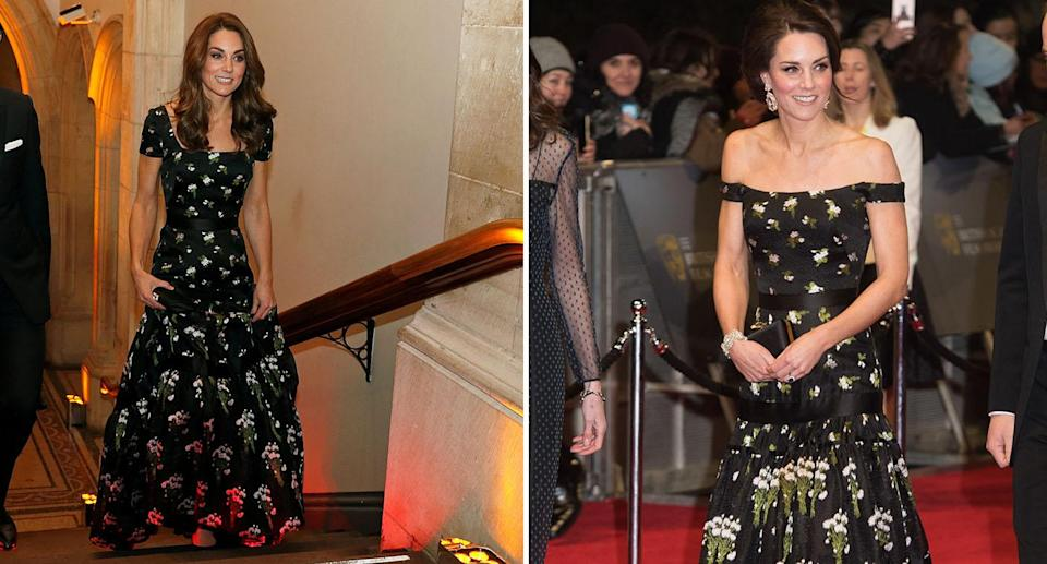 The Duchess of Cambridge reworked her Alexander McQueen from the 2017 BAFTAs at the Portrait Gala [Photos: PA]