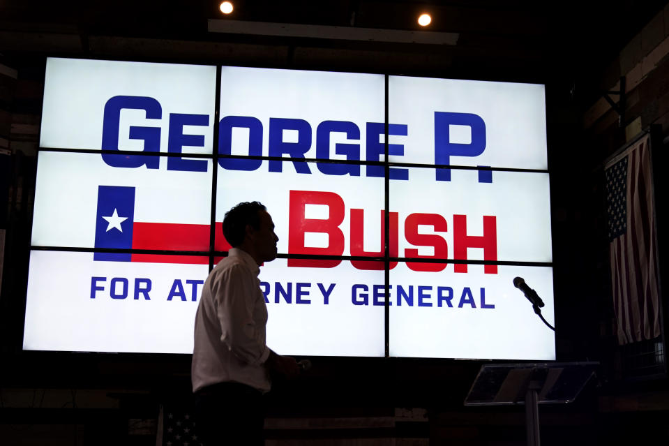 Texas Land Commissioner George P. Bush leaves the stage at a kick-off rally where he announced he will run for Texas Attorney General, Wednesday, June 2, 2021, in Austin, Texas. (AP Photo/Eric Gay)