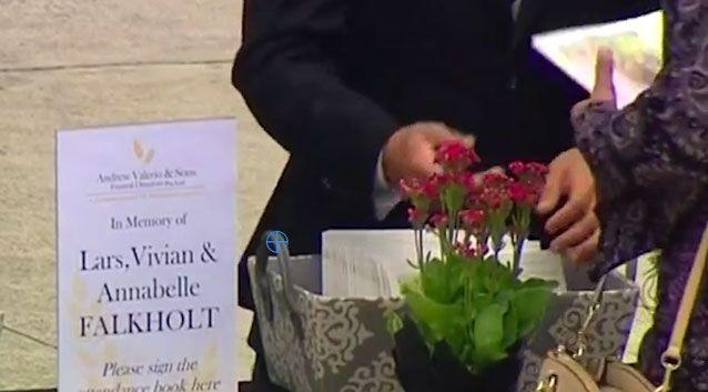 The funeral for Lars, Vivian and Annabelle was held in Sydney's inner west on Wednesday. Photo: 7 News