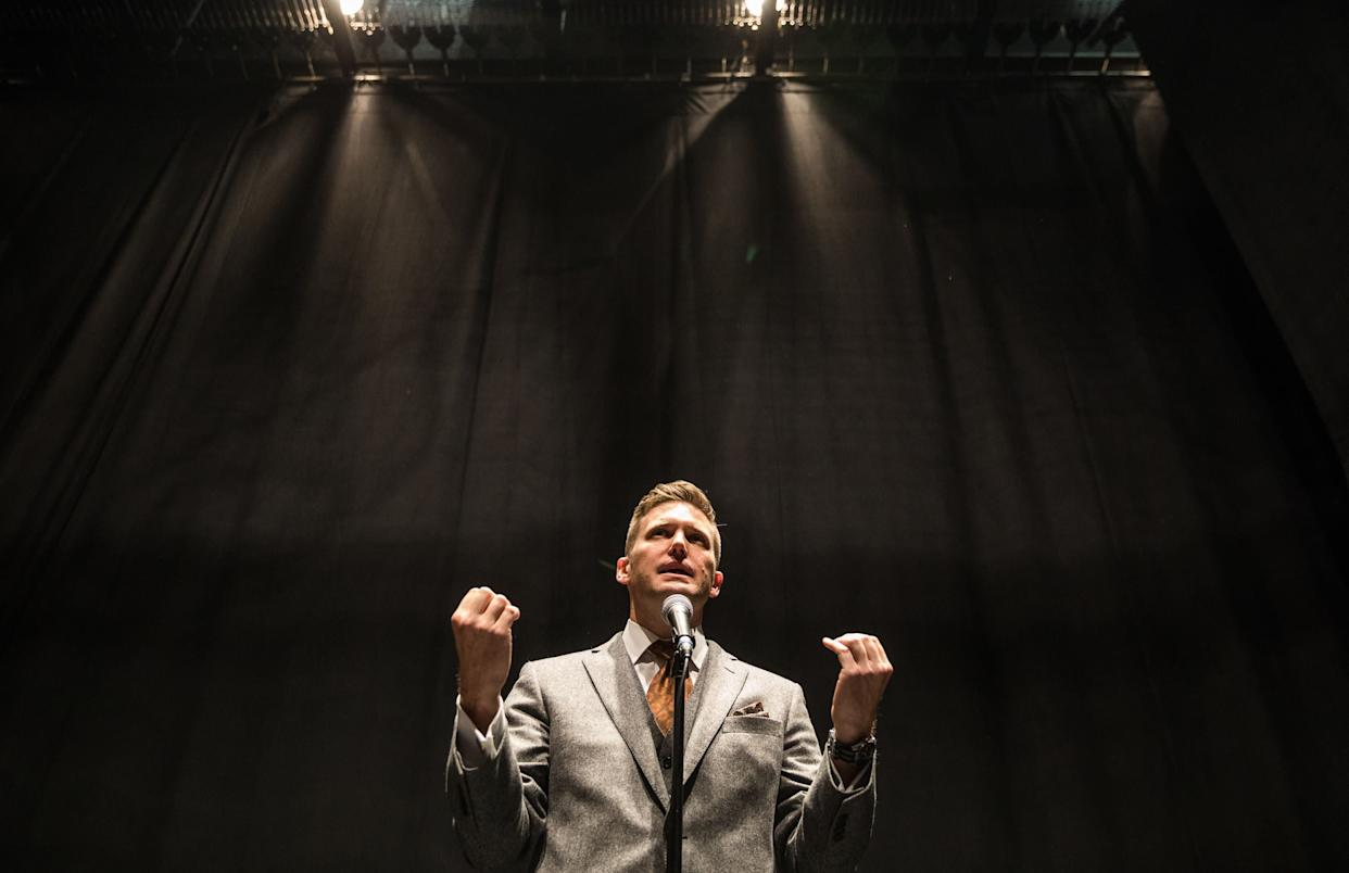 Richard Spencer addresses the mediaon Oct. 19, 2017, at the University of Florida, which initially resisted hosting him as a speaker. (Photo: Evelyn Hockstein/The Washington Post via Getty Images)
