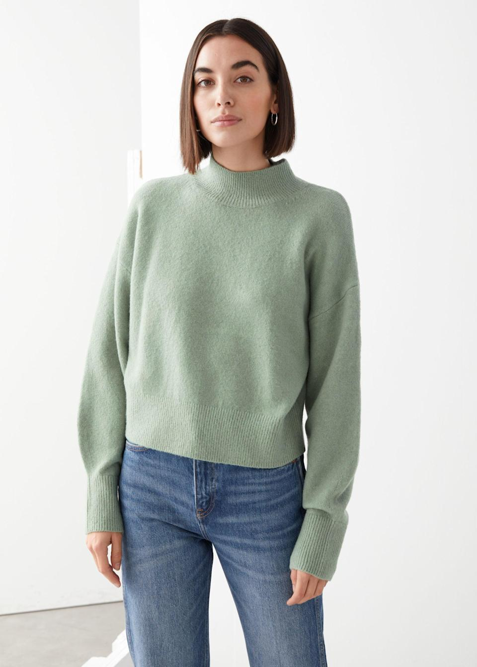 "<br><br><strong>& Other Stories</strong> Mock Neck Sweater, $, available at <a href=""https://go.skimresources.com/?id=30283X879131&url=https%3A%2F%2Fwww.stories.com%2Fen_usd%2Fclothing%2Fknitwear%2Fsweaters%2Fproduct.mock-neck-sweater-green.0657545048.html"" rel=""nofollow noopener"" target=""_blank"" data-ylk=""slk:& Other Stories"" class=""link rapid-noclick-resp"">& Other Stories</a>"