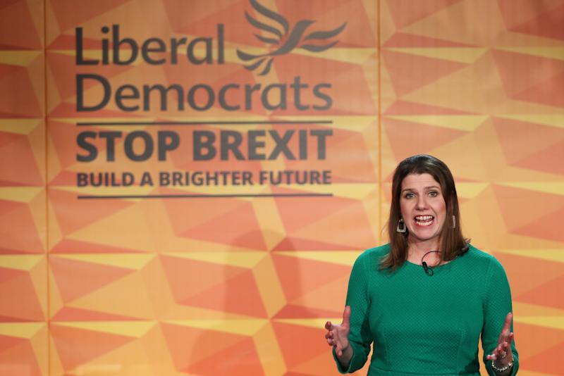 Liberal Democrats leader Jo Swinson during the launch of her party's manifesto at FEST, Stables Market in Camden ahead of the General Election.