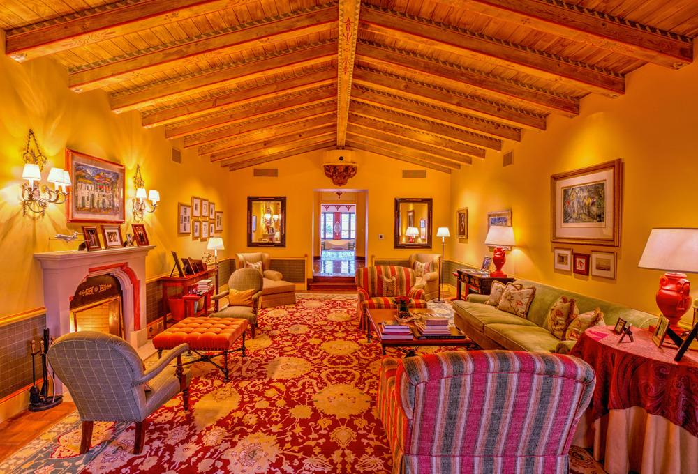 <p>There is intricate detailing in the wood floors and ceilings, as well as in the custom designed carpet handwoven in India. High-tech theater and sound systems are hidden so as not to disturb the classical flow of the room. (Photo by Steve Brown/Sepia Productions)</p>