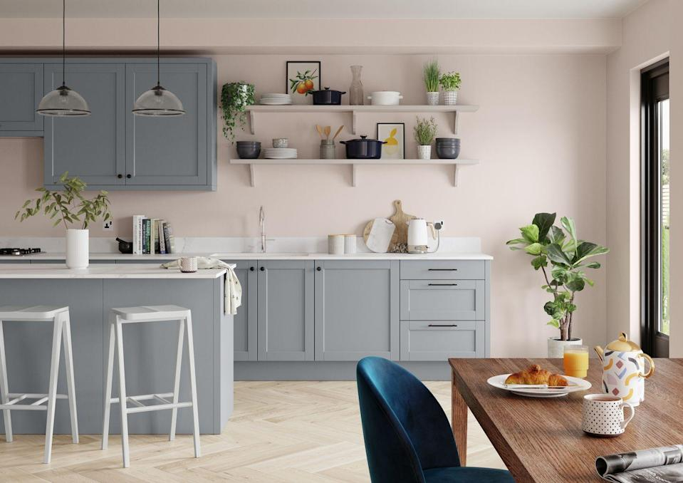 """<p>Kitchens are for more than just cooking: they're spaces for children to finish homework, places to relax at the end of a busy day, and areas to dine with loved ones. If you're planning on sprucing up yours, a lighter palette of pinks, greys and creams will help to brighten up the room. </p><p>Pictured: <a href=""""https://go.redirectingat.com?id=127X1599956&url=https%3A%2F%2Fwww.dulux.co.uk%2Fen%2Fproducts%2Ffilters%2FcccId_1915001&sref=https%3A%2F%2Fwww.housebeautiful.com%2Fuk%2Fdecorate%2Fwalls%2Fg36128885%2Fcolour-schemes-high-traffic-rooms%2F"""" rel=""""nofollow noopener"""" target=""""_blank"""" data-ylk=""""slk:'Blush Pink'"""" class=""""link rapid-noclick-resp"""">'Blush Pink'</a>, <a href=""""https://go.redirectingat.com?id=127X1599956&url=https%3A%2F%2Fwww.dulux.co.uk%2Fen%2Fproducts%2Ffilters%2FcccId_1915111&sref=https%3A%2F%2Fwww.housebeautiful.com%2Fuk%2Fdecorate%2Fwalls%2Fg36128885%2Fcolour-schemes-high-traffic-rooms%2F"""" rel=""""nofollow noopener"""" target=""""_blank"""" data-ylk=""""slk:'Natural Slate'"""" class=""""link rapid-noclick-resp"""">'Natural Slate'</a>, <a href=""""https://go.redirectingat.com?id=127X1599956&url=https%3A%2F%2Fwww.dulux.co.uk%2Fen%2Fproducts%2Ffilters%2FcccId_1915127&sref=https%3A%2F%2Fwww.housebeautiful.com%2Fuk%2Fdecorate%2Fwalls%2Fg36128885%2Fcolour-schemes-high-traffic-rooms%2F"""" rel=""""nofollow noopener"""" target=""""_blank"""" data-ylk=""""slk:'Perfectly Taupe'"""" class=""""link rapid-noclick-resp"""">'Perfectly Taupe'</a> and <a href=""""https://go.redirectingat.com?id=127X1599956&url=https%3A%2F%2Fwww.dulux.co.uk%2Fen%2Fproducts%2Ffilters%2FcccId_1915129&sref=https%3A%2F%2Fwww.housebeautiful.com%2Fuk%2Fdecorate%2Fwalls%2Fg36128885%2Fcolour-schemes-high-traffic-rooms%2F"""" rel=""""nofollow noopener"""" target=""""_blank"""" data-ylk=""""slk:'Polished Pebble'"""" class=""""link rapid-noclick-resp"""">'Polished Pebble'</a> by Dulux.</p>"""