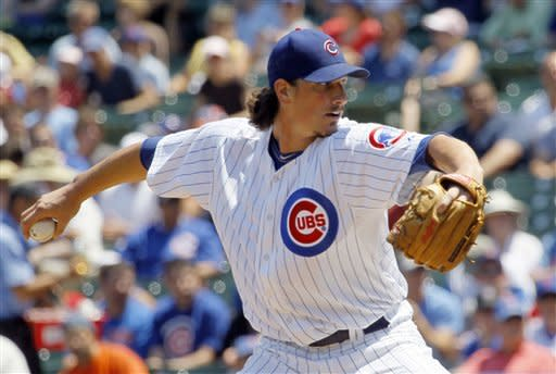 Chicago Cubs starting pitcher Jeff Samardzija delivers during the first inning of a baseball game against the New York Mets, Wednesday, June 27 2012, in Chicago. (AP Photo/Charles Rex Arbogast)