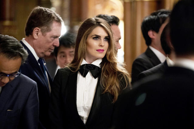 Hope Hicks, White House director of strategic communications, arrives at a state banquet at the Akasaka Palace in Tokyo. (Andrew Harnik/AP)