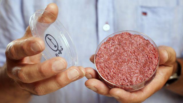 Professor Mark Post holds the world's first lab-grown beef burger.