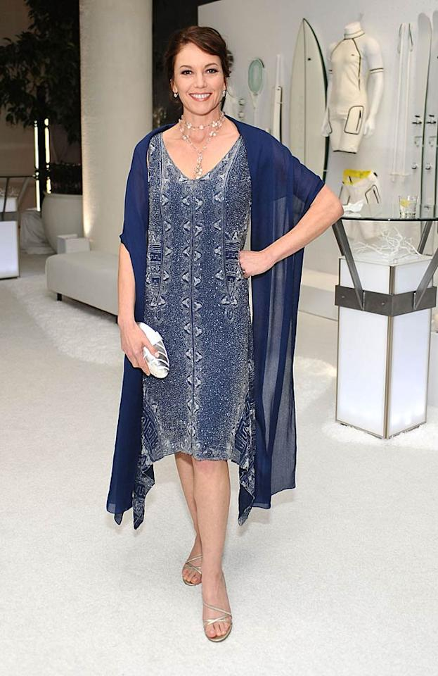"""Diane Lane went for a 1920s vibe in a silver-and-blue print flapper dress with a handkerchief hemline. Stefanie Keenan/<a href=""""http://www.gettyimages.com/"""" target=""""new"""">GettyImages.com</a> - February 22, 2011"""