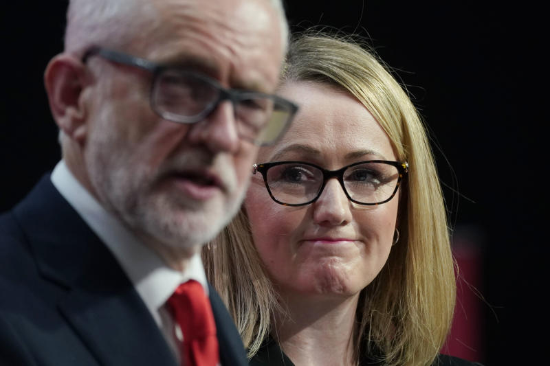 BIRMINGHAM, ENGLAND - NOVEMBER 21: Shadow business secretary Rebecca Long-Bailey looks on as Labour leader Jeremy Corbyn speaks during the launch of the party's election manifesto at Birmingham City University on November 21, 2019 in Birmingham, England. (Photo by Christopher Furlong/Getty Images)
